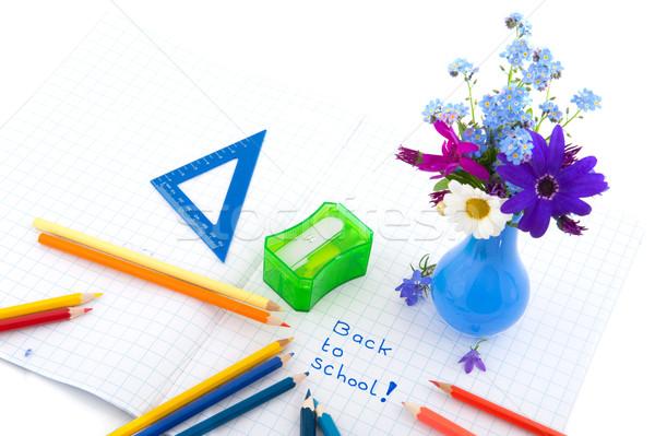 Stockfoto: Terug · naar · school · vrolijk · kleuren · bloemen · potloden · zomer