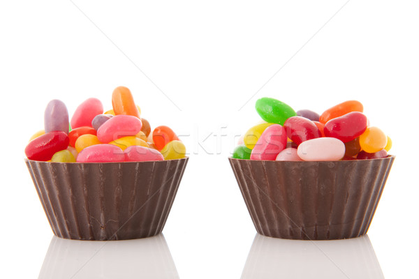 Chocolate cups jelly beans Stock photo © ivonnewierink