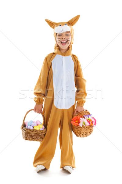 Dziecko Wielkanoc zając jaj kwiaty koszyka Zdjęcia stock © ivonnewierink