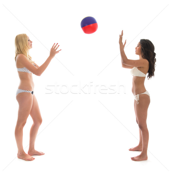 Vrouw spelen strandbal zwarte blond Stockfoto © ivonnewierink