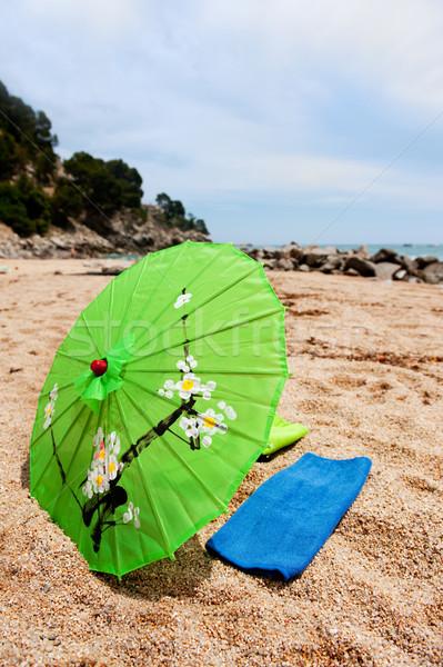熱帯 パラソル ビーチ タオル 水 夏 ストックフォト © ivonnewierink