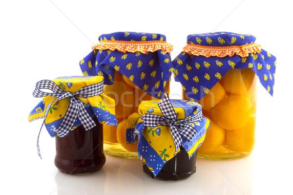 Conservato frutta completo jam pesche bianco Foto d'archivio © ivonnewierink