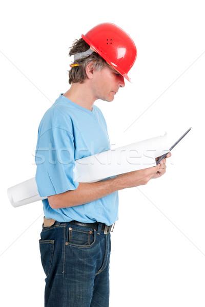 職人 作業 タブレット 孤立した 白 ビジネス ストックフォト © ivonnewierink