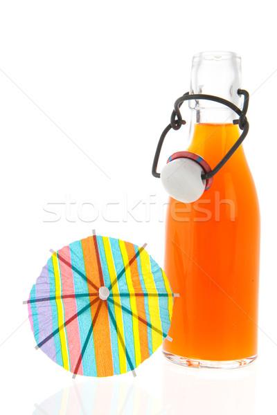 Fles frisdrank glas oranje zomer parasol Stockfoto © ivonnewierink