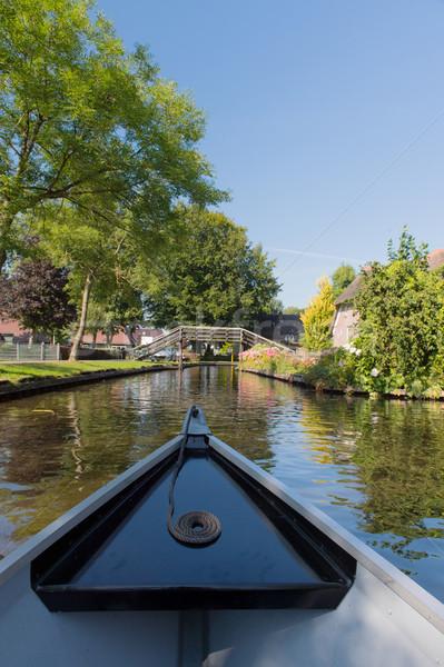 Boat in Dutch village Giethoorn Stock photo © ivonnewierink