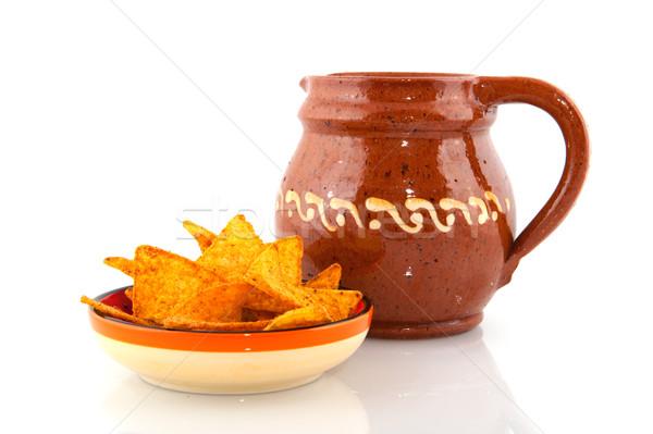 Tortilla batatas fritas comida vinho Foto stock © ivonnewierink