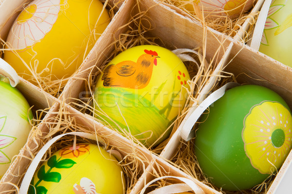 Decorato easter eggs finestra paglia pollo uova Foto d'archivio © ivonnewierink