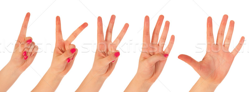 Woman counting with fingers Stock photo © ivonnewierink