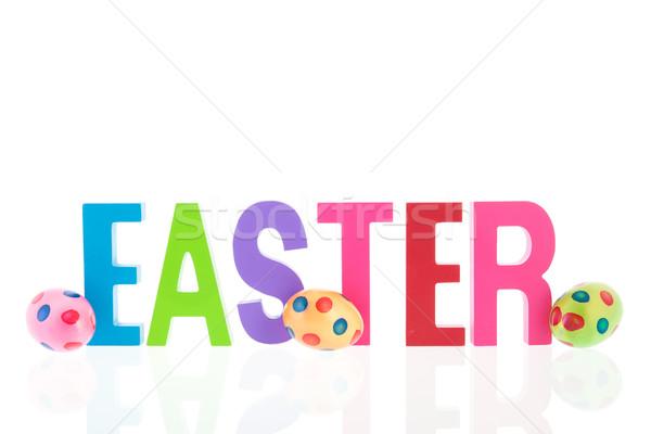 Kellemes húsvétot tojások szöveg színes festett húsvét Stock fotó © ivonnewierink