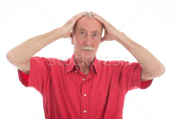 отставку человека портрет усы красный рубашку Сток-фото © ivonnewierink