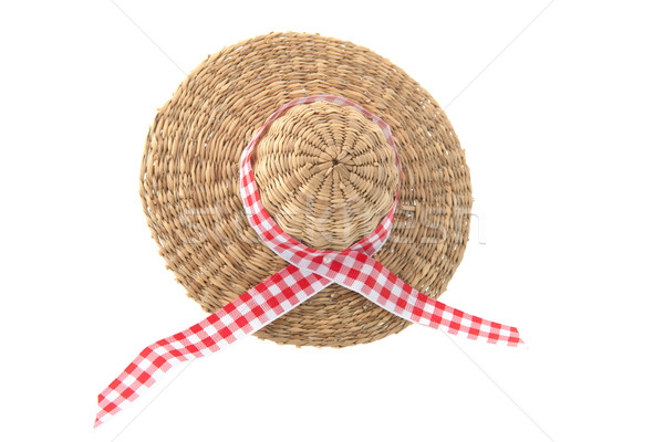 Osier été chapeau rouge à carreaux ruban Photo stock © ivonnewierink