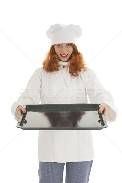 Feminino padeiro chef isolado branco Foto stock © ivonnewierink