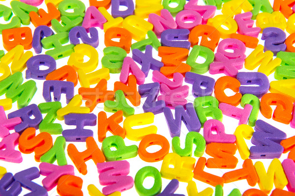 Renkli mektup kaos köpük beyaz Stok fotoğraf © ivonnewierink
