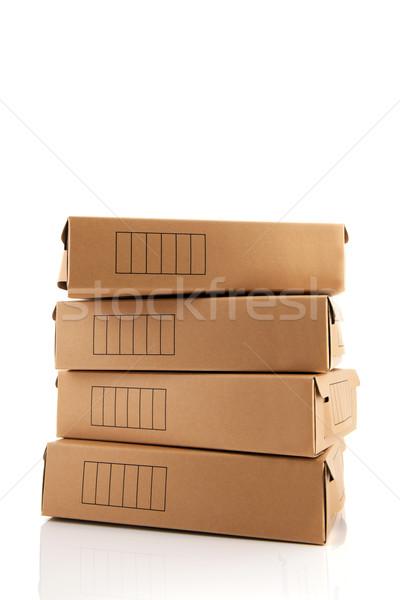 Archívum dobozok karton izolált fehér bolt Stock fotó © ivonnewierink