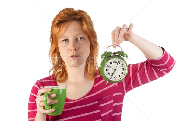 наслаждаться утра кофе молодые красный жена Сток-фото © ivonnewierink