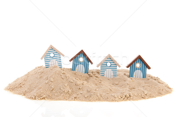 Plage sable rayé fond maisons studio Photo stock © ivonnewierink