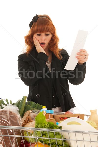Nő bevásárlókocsi tele tejgazdaság élelmiszer nyugta Stock fotó © ivonnewierink