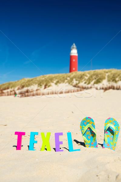 Stockfoto: Eiland · nederlands · vuurtoren · strand · reizen