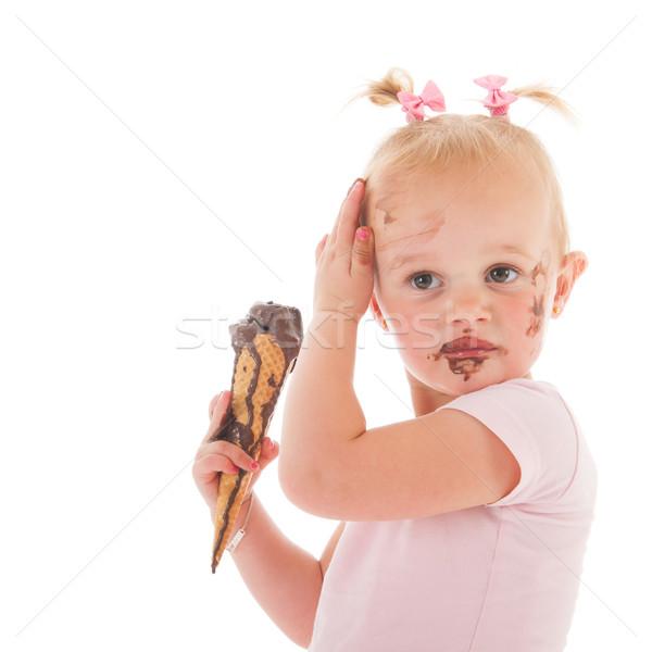 Toddler girl eating ice cream Stock photo © ivonnewierink