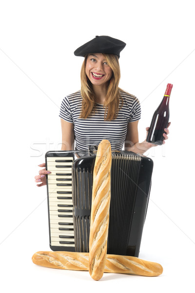 Stock photo: Typical French girl with accordion, bread and wine