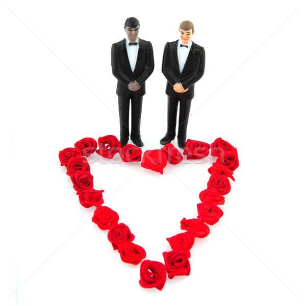 Homo bruiloft rode rozen hart liefde rozen Stockfoto © ivonnewierink