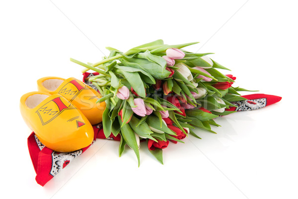 Dutch clogs and tulips Stock photo © ivonnewierink