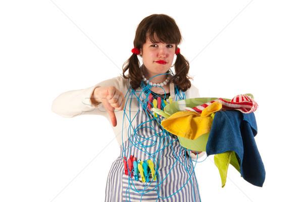 Vervelend huisvrouw wasserij vrouw schoonheid teen Stockfoto © ivonnewierink