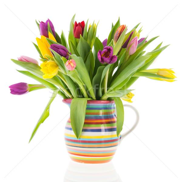 Сток-фото: букет · тюльпаны · ваза · изолированный · белый