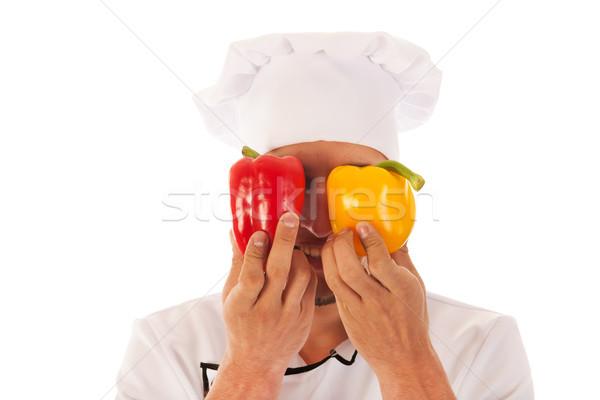 Cook with fresh paprikas Stock photo © ivonnewierink