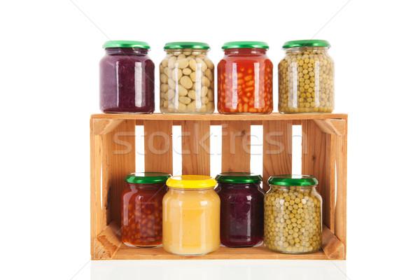 Wooden crate preserved vegetables Stock photo © ivonnewierink