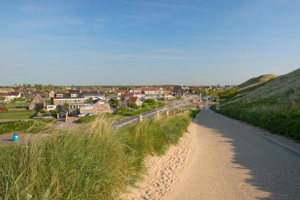 Nederlands dorp landschap gras zomer huizen Stockfoto © ivonnewierink