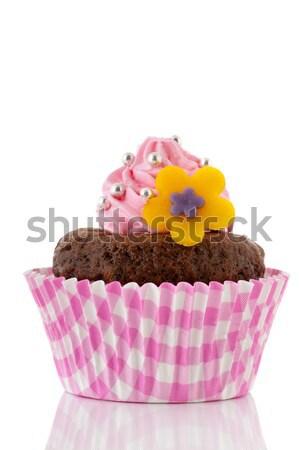 Rózsaszín csokoládé minitorta virág vajkrém gyöngyök Stock fotó © ivonnewierink