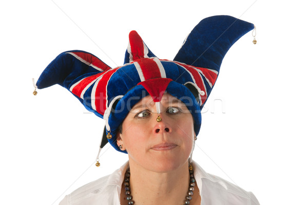 Stock photo: Woman cross eyed with Brittain funny hat
