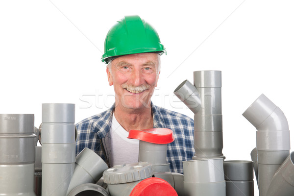 Confused funny plumber Stock photo © ivonnewierink
