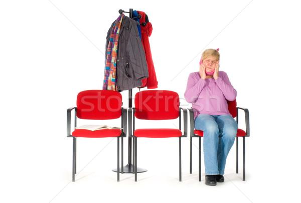Bekleme odası dişçi kadın ağrı yaşlı dişler Stok fotoğraf © ivonnewierink