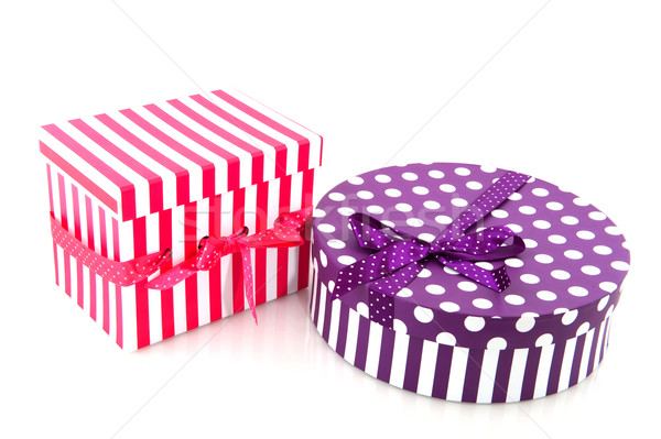Purple and red striped present Stock photo © ivonnewierink