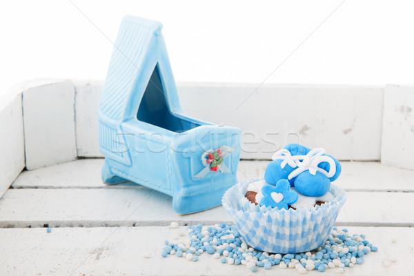 Geboren baby jongen Blauw Stockfoto © ivonnewierink