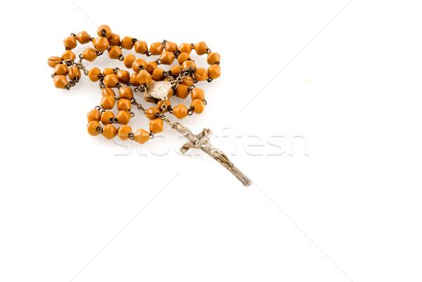 Rózsafüzér imádkozik kereszt Jézus templom stúdió Stock fotó © ivonnewierink