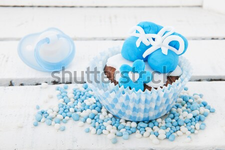 Bebek erkek doğmuş mavi hediyeler Stok fotoğraf © ivonnewierink