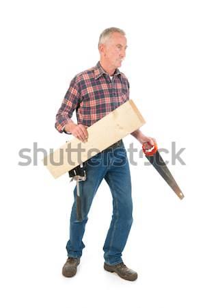 Werknemer zag hout senior man Stockfoto © ivonnewierink