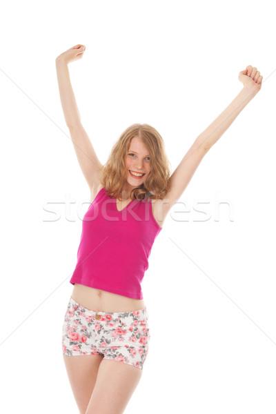 Verano nina rubio feliz mano retrato Foto stock © ivonnewierink