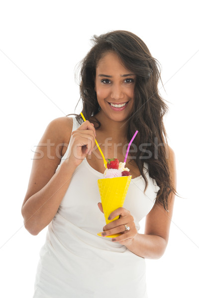 Stockfoto: Zwarte · vrouw · eten · vruchten · sorbet · glas