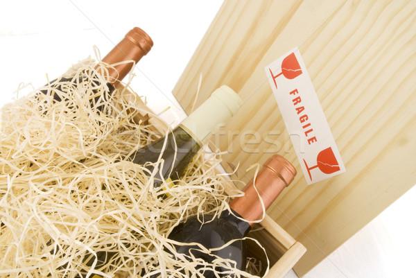 Regalo set vino legno mail Foto d'archivio © ivonnewierink