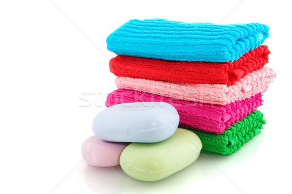 Colorido toalhas sabão peças verde azul Foto stock © ivonnewierink