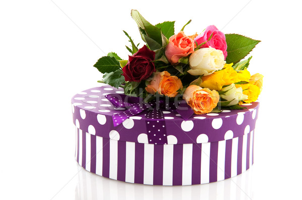 colorful roses and birthday present Stock photo © ivonnewierink