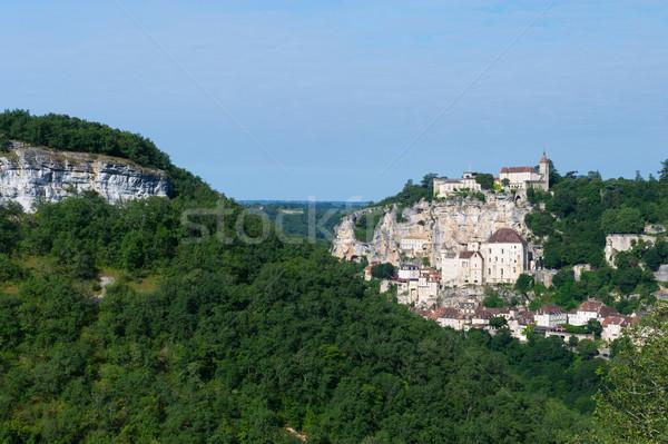 Bedevaart dorp frans wolken stad kerk Stockfoto © ivonnewierink
