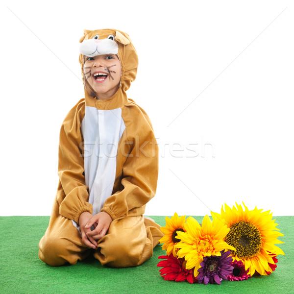 ребенка Пасху заяц цветы изолированный Сток-фото © ivonnewierink
