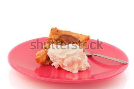 Torta de maçã chantilly peça rosa prato fundo Foto stock © ivonnewierink