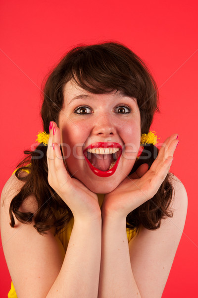 Portrait happy young girl Stock photo © ivonnewierink