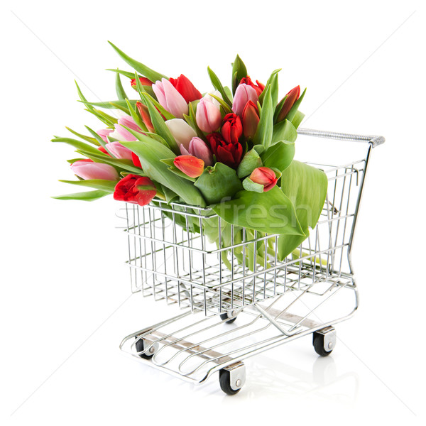 Stock fotó: Bevásárlókocsi · virágok · virágcsokor · színes · tulipánok · izolált